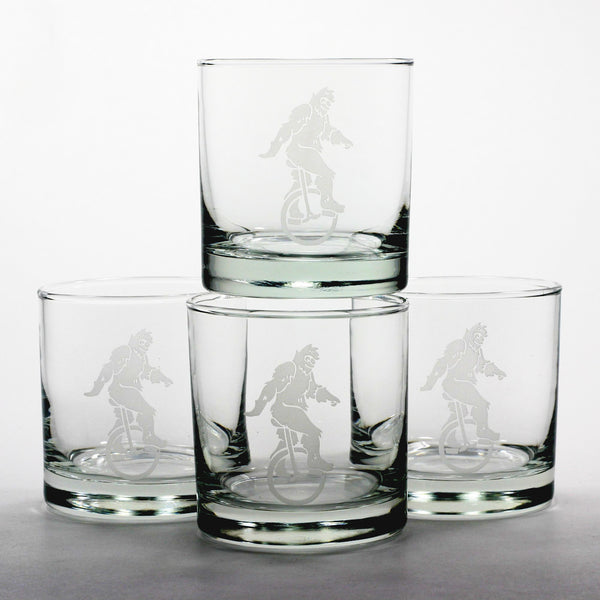 sasquatch unicyle yeti lowball glass set