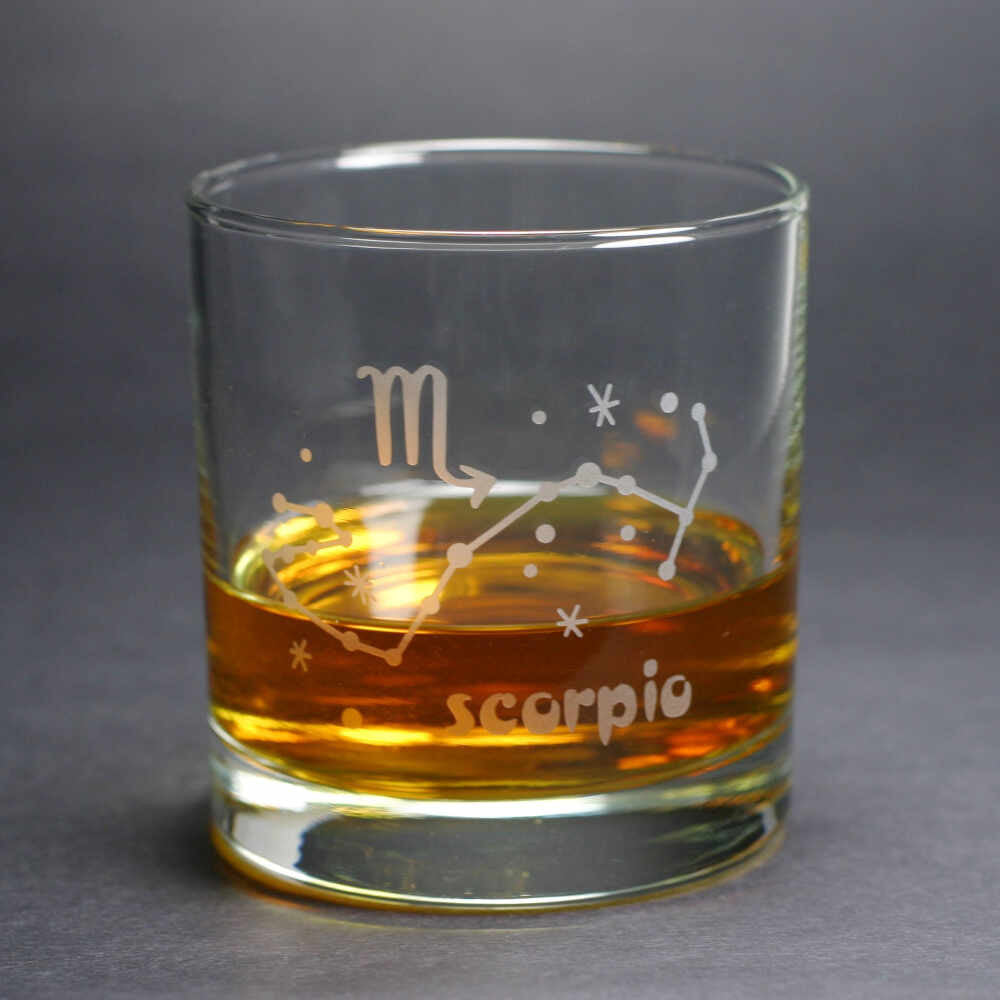 scorpio constellation lowball glass by Bread and Badger