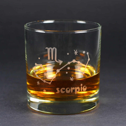 scorpio zodiac lowball glass by Bread and Badger