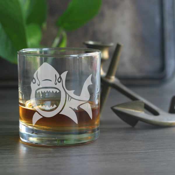Shark nautical lowball glass
