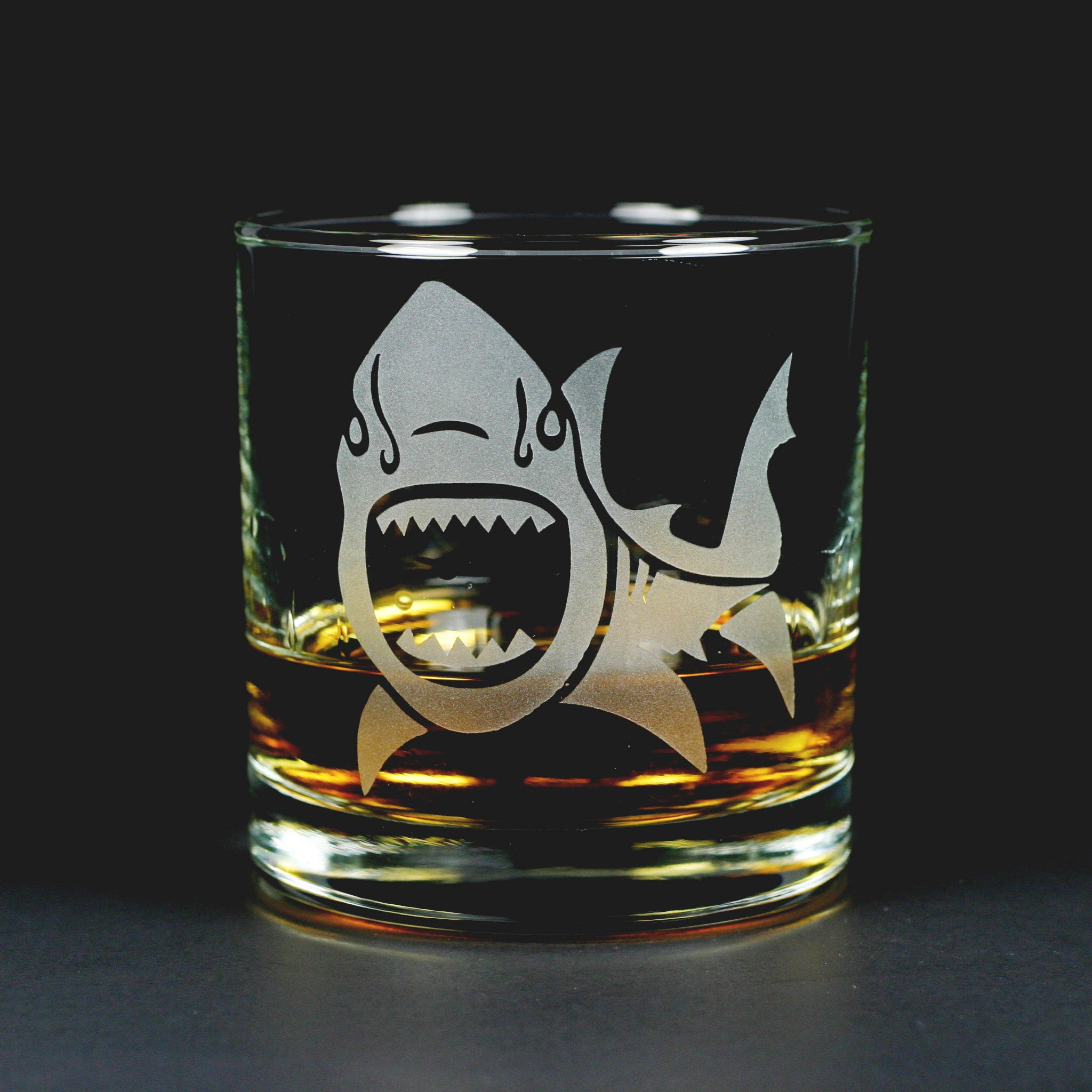 Shark etched lowball glass