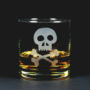 Skull and Bones etched lowball glass
