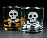 Set of pirate skull lowball glasses
