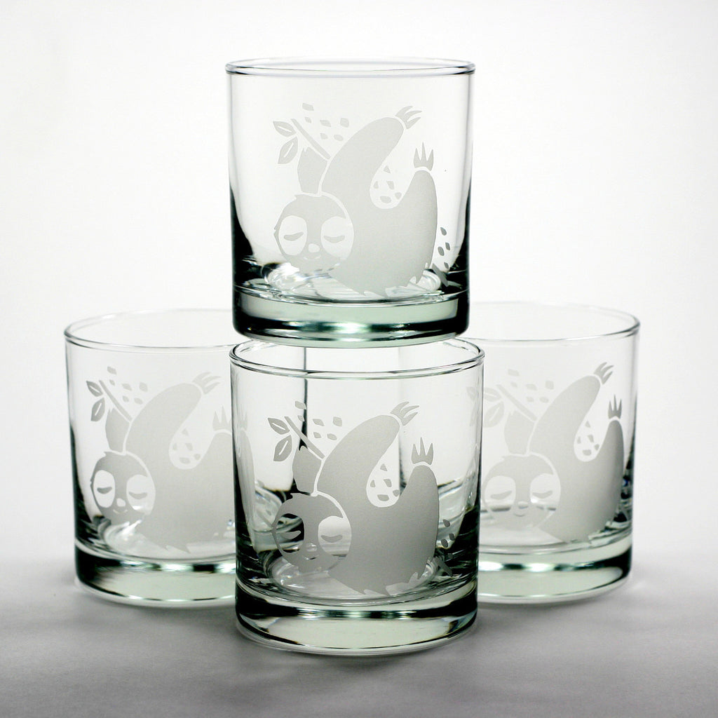 sloth whiskey glasses gift set