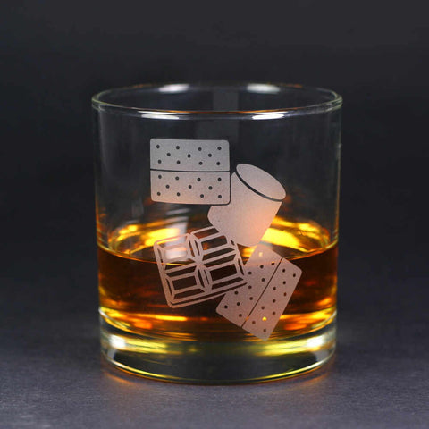 S'mores etched whiskey glass