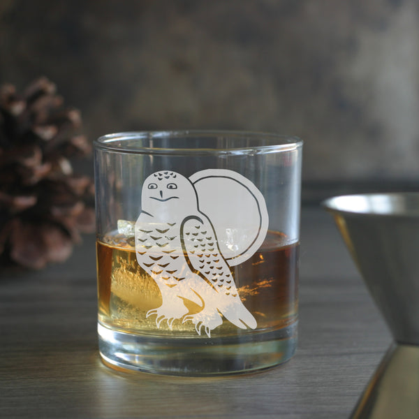 Snowy Owl lowball glass