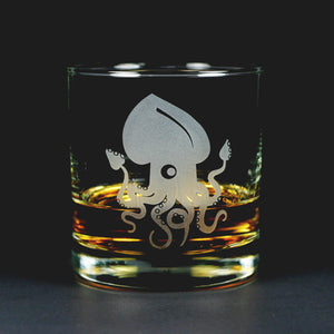 Squid etched lowball glass