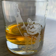 Stretch Cat engraved lowball glass by Bread and Badger