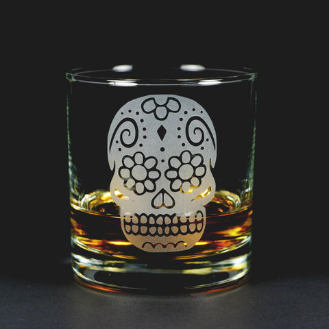 Sugar Skull Lowball Glass