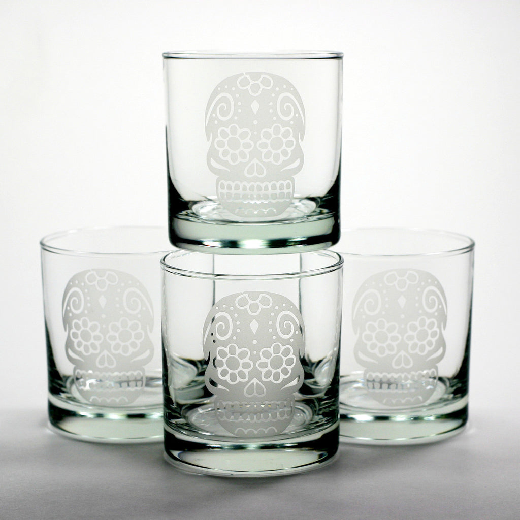 day of the dead sugar skull whiskey glasses