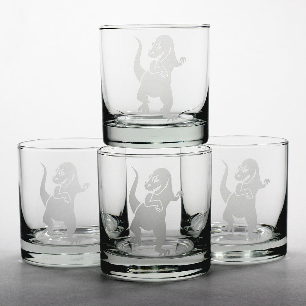 Tyrannosaurus Rex scotch whiskey glasses