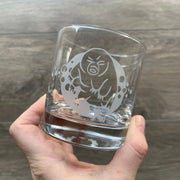 Tardigrade Water Bear lowball glass engraved by Bread and Badger
