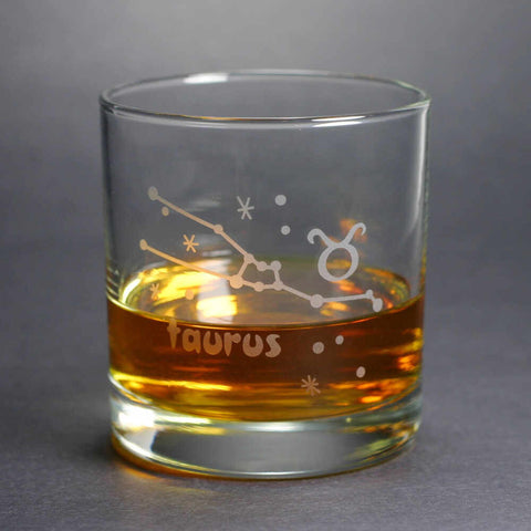 Taurus Zodiac Constellation Lowball Glass