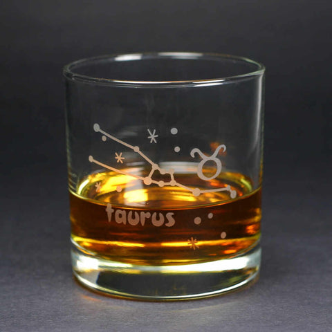 taurus zodiac lowball glass by Bread and Badger