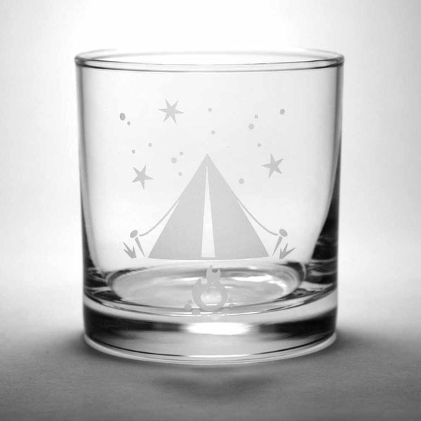 Tent etched whiskey glass by Bread and Badger