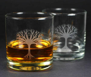 tree lowball whiskey glasses by Bread and Badger