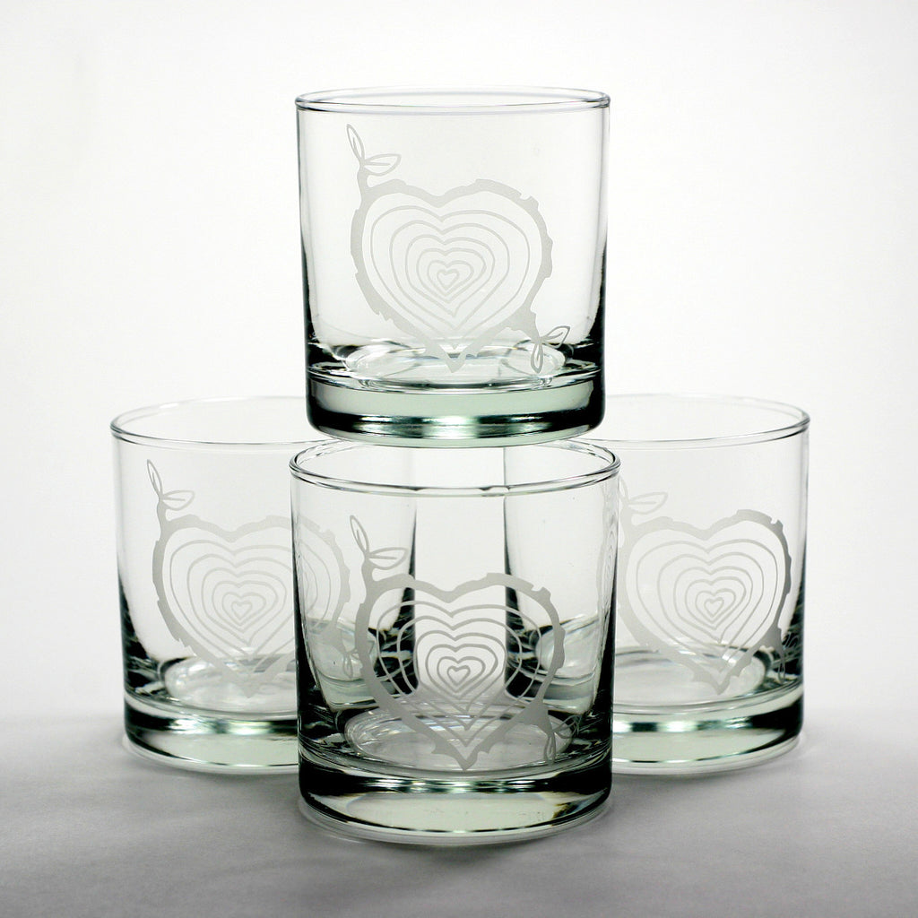 tree stump heart whiskey glasses