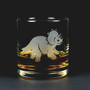 Triceratops dinosaur lowball glass