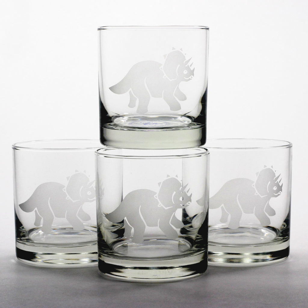 dinosaur triceratops scotch whiskey glasses