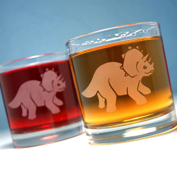 triceratops dinosaur cocktail glass