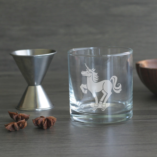Unicorn etched lowball glass