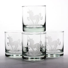 unicorn etched cocktial glassware