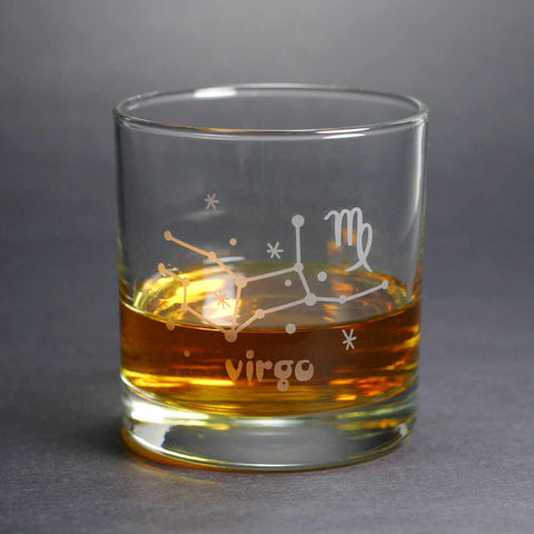 virgo constellation lowball glass by Bread and Badger