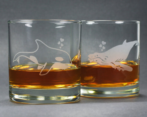 whale lowball whiskey glasses by Bread and Badger