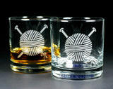 Yarn knitting lowball glass set