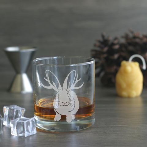 Jackalope engraved lowball glass