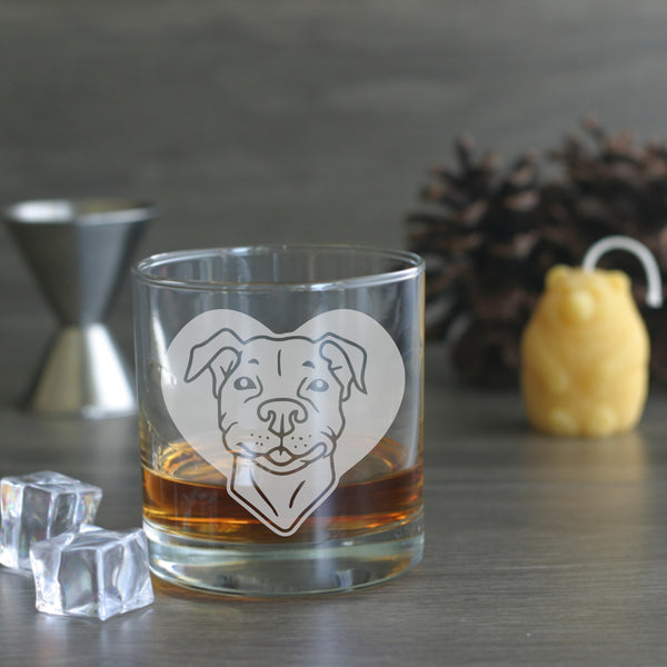 Pit Bull dog etched lowball glass