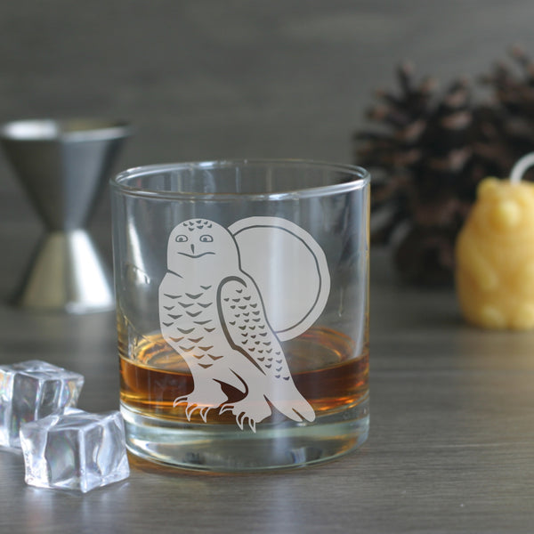Snowy Owl etched lowball glass
