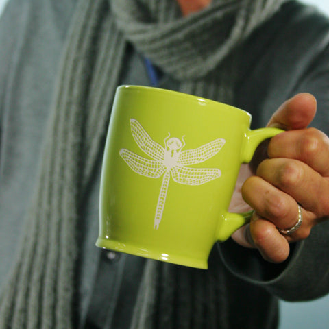 dragonfly coffee mug, green