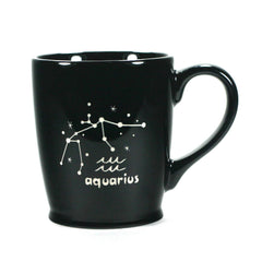 aquarius constellation mug, black, by Bread and Badger