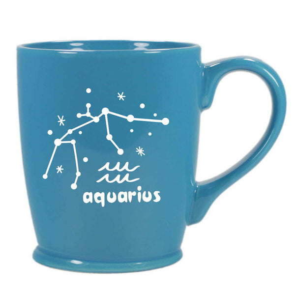 aquarius constellation mug, sky blue, by Bread and Badger