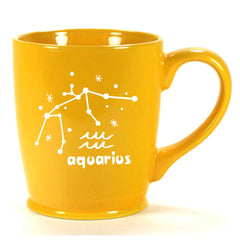 aquarius constellation mug, yellow gold, by Bread and Badger