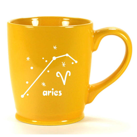 aries constellation mug, yellow, by Bread and Badger
