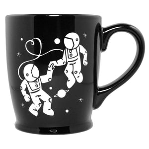 black astronauts in love mug