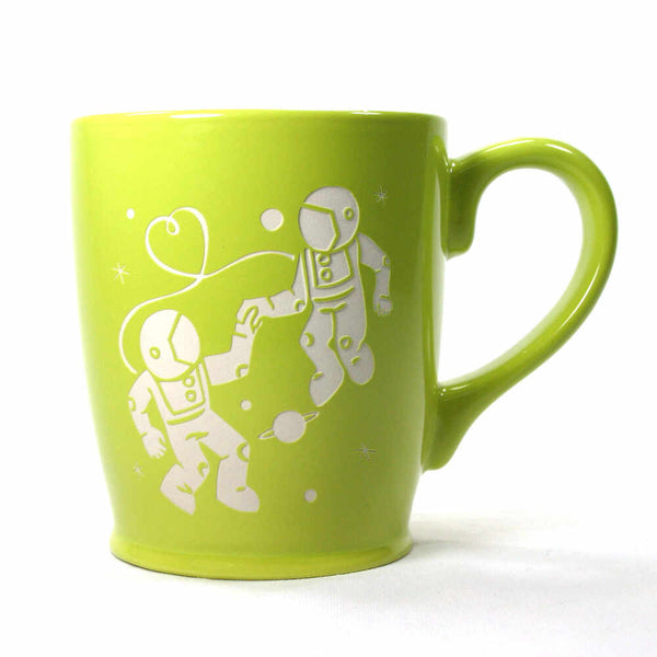 Astronaut Love mug in chartreuse green