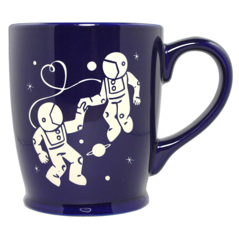 Astronaut Love navy blue coffee mug