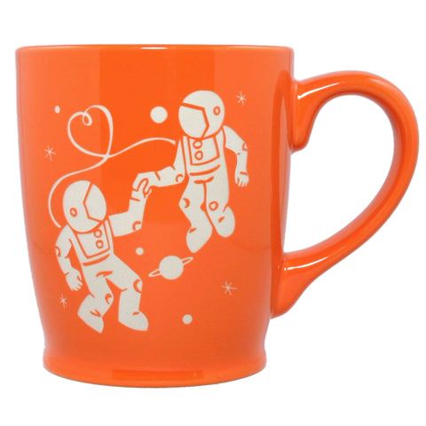 orange astronaut love mug