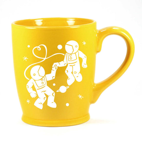 yellow astronaut love mug