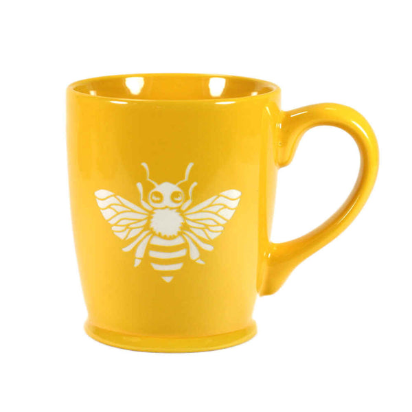 yellow gold honey bee mug