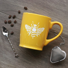 Bee Mug with Handle - Engraving is Dishwasher-Safe, Microwave-Safe