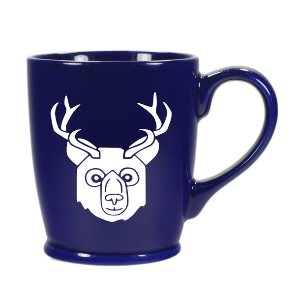 BEER Bear with Antlers Mug, standard navy blue