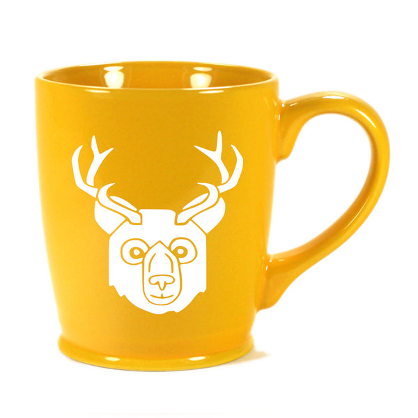 BEER Bear with Antlers Mug, standard yellow