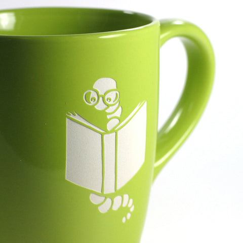 Book worm mug sandblasting detail by Bread and Badger