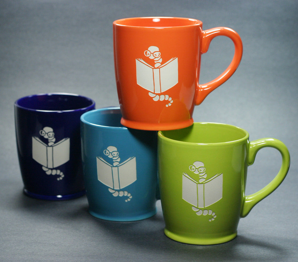 Bookworm mugs by Bread and Badger
