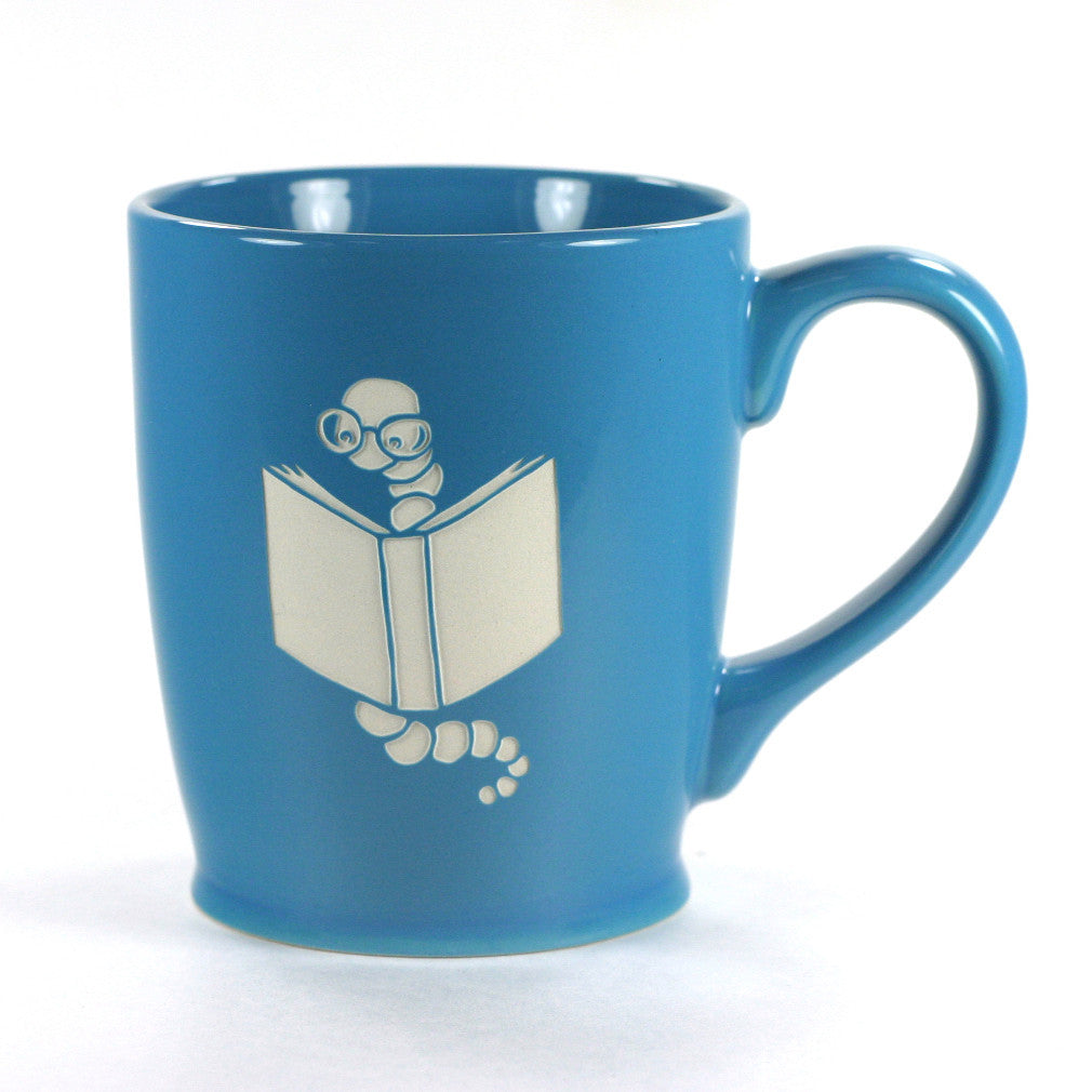 Bookworm sky blue mug by Bread and Badger