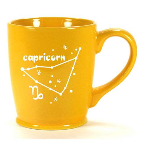 capricorn constellation mug, yellow, by Bread and Badger